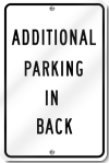 Additional Parking In Back Sign