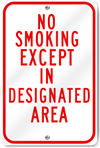 No Smoking Except In Designated Area Sign