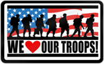 We Love Our Troops Shaped Magnet