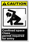 Confined Space Class ___ Permit Required For Entry Caution Signs