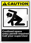 Confined Space Entry Permit Required Call Your Supervisor Caution Signs