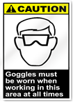 Goggles Must Be Worn When Working In This Area At All Times Caution Signs