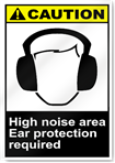 Hearing Noise Area Ear Protection Required Caution Signs