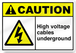 High Voltage Cables Underground Caution Signs