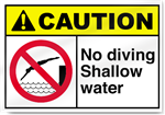 No Diving Shallow Water Caution Signs