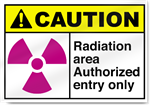 Radiation Area Authorized Entry Only Caution Signs