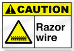 Razor Wire Caution Signs