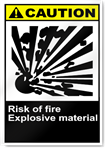 Risk Of Fire Explosive Material Caution Signs