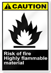 Risk Of Fire Highly Flammable Material Caution Signs