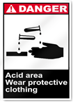 Acid Area Wear Protective Clothing Danger Signs
