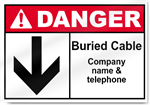Buried Cable And Company Name And Telephone Danger Signs