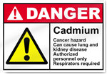 Cadmium Cancer Hazard Can Cause Lung And Kidney Disease Authorized Personnel Only Respirators Required Danger Signs