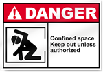 Confined Space Keep Out Unless Authorized Danger Signs