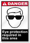 Eye Protection Required In This Area Danger Signs