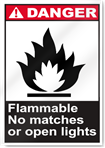 Flammable No Matches Or Open Lights Danger Signs