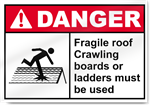 Fragile Roof Crawling Boards Or Ladders Must Be Used Danger Signs