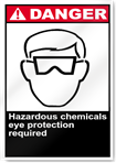 Hazardous Chemicals Eye Protection Required Danger Signs