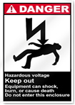 Hazardous Voltage Keep Out Danger Signs