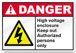 High Voltage Enclosure Keep Out Authorized Persons Only Danger Signs