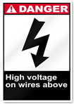 High Voltage On Wires Above Danger Signs