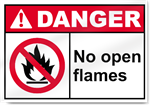 No Open Flames Danger Signs