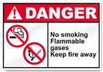 No Smoking Flammable Gases Keep Fire Away Danger Signs