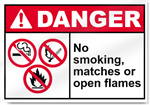 No Smoking Matches Or Open Flames Danger Signs
