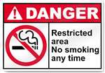 Restricted Area No Smoking Any Time Danger Signs