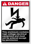 This Enclosure Contains High Voltage Electrical Danger Signs