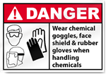 Wear Chemical Goggles, Face Shield & Rubber Danger Signs