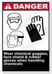 Wear Chemical Goggles, Face Shield & Rub Danger Signs