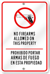 English/Spanish No Firearms Sign