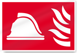 Helmet And Flames Fire Sign