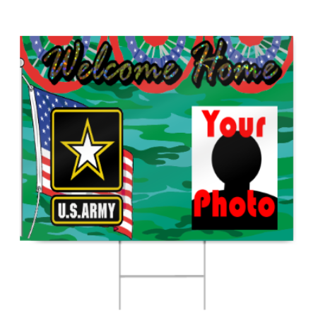 Army Welcome Home Sign with Photo