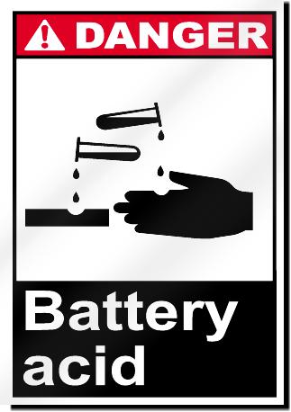 Danger Battery Acid Sign