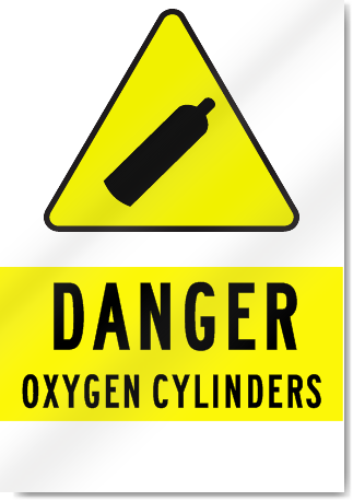 Danger Oxygen Cylinders Sign