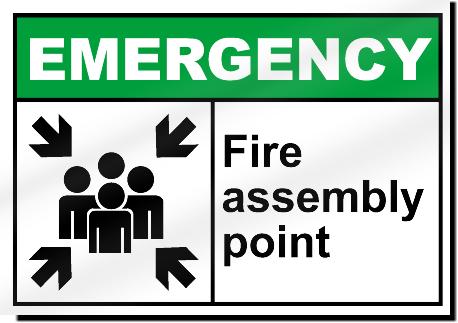 fire assembly point emergency sign ebay. Black Bedroom Furniture Sets. Home Design Ideas