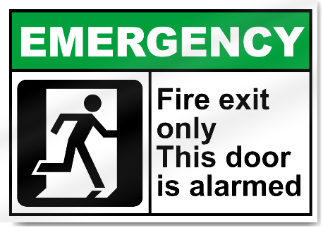 Fire Exit Only This Door Is Alarmed Emergency Sign Ebay
