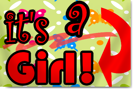 It's a Girl Banner in Red