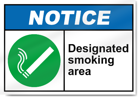 Designated Smoking Area Notice Sign | eBay
