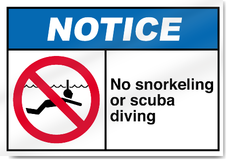 no snorkeling or scuba diving notice signs signstoyoucom