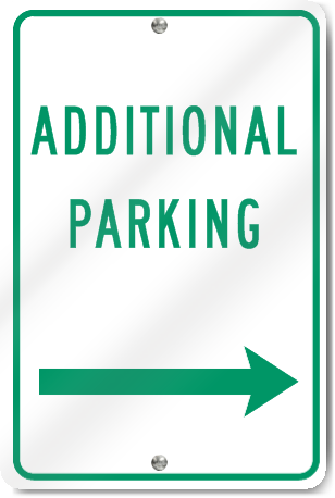 Additional Parking Right Arrow Metal Sign
