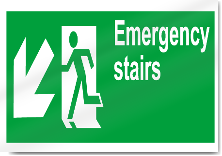 Emergency Stairs Down Left Safety Sign | eBay