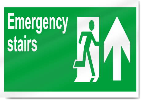 Details about Emergency Stairs Up Safety Sign