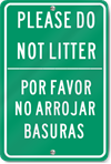 Please Do Not Litter English/Spanish Sign