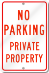 No Parking Private Property Sign in Red