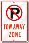 No Parking Tow Away Zone Sign With Symbol