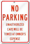 No Parking Unauthorized Cars Will BeTowed Sign in Red
