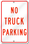No Truck Parking Sign in Red