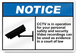 Cctv Is In Operation For Your Personal Safety Notice Signs